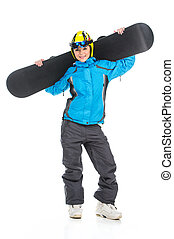 Full length shoot of young female snowboarder. Posing on...