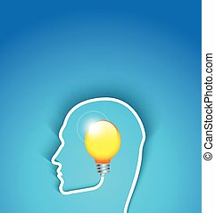 idea concept human face profile with bulb