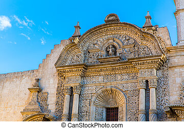 Old church in Arequipa, Peru, South America. Arequipa's Plaza de Armas is one of the most beautiful in Peru.