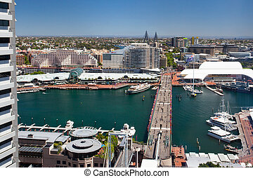 Sydney Darling Harbour - An aerial view from the CBD of...