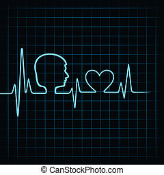 Heartbeat make male face and heart