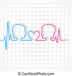 Heartbeat make male,female face and heart symbol stock...