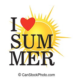 i love summer icon color vector