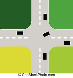 intersection with cars color vector illustration