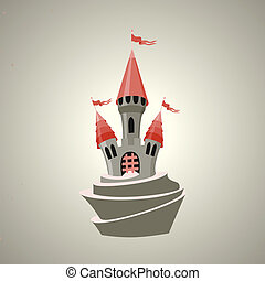 Cartoon fortified castle with flags Icon - Cartoon...