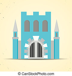Color flat castle icon for web and mobile applications -...