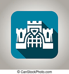 Blue flat castle icon for web and mobile applications - Blue...