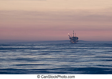 Offshore oilrig - An off-shore oil platform on the pacific...