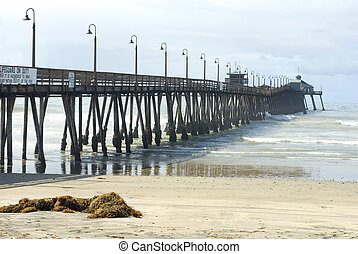 Imperial Beach Boardwalk - Wooden pier at Imperial Beach,...