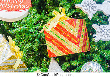 Giftbox decorate on christmas tree