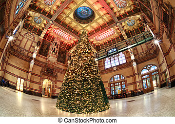 Christmas tree at Central Station in Groningen, Netherlands