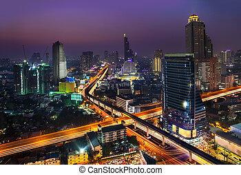 Night Urban City Skyline, Bangkok, Thailand - Bangkok is the...