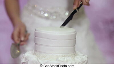 Cutting of wedding cake - A groom and fiancee cut a wedding...