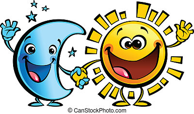 Sun and moon best friends baby cartoon characters - Shining...