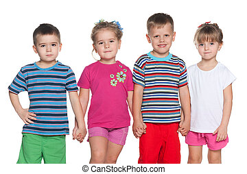 vier, Freudig, Kinder