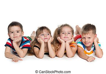 cztery, Preschool, dzieci, podłoga