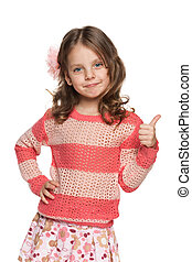 Lovely little girl holds her thumb up - A portrait of a...