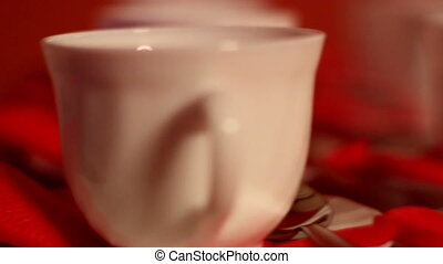 Set of tea cups on the table