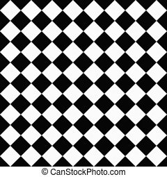 Black and White Diagonal Checkers on Textured Fabric...