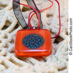 original glass handmade amulet - original red glass handmade...