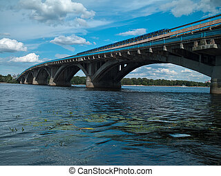 Dnipro river and bridge