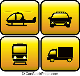 icons with transport silhouette