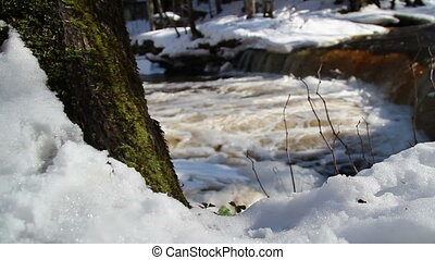 A view of a rapid water on the stream surrounded with...