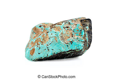 Natural turquoise tumbled stone on white backgroud