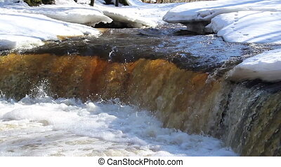 A clear water flowing between the snow-covered are a - A...