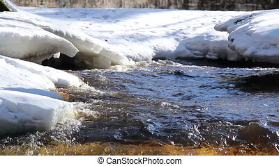 Thick snow covering the area and a flowing water - Thick...