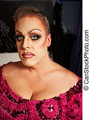 Female Impersonator Close-up - Serious drag queen without...