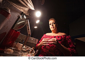 Man Dressing as a Woman - Man in backstage dressing up as a...