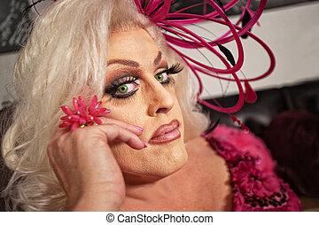 Close Up of Drag Queen - Close up of serious drag queen in...