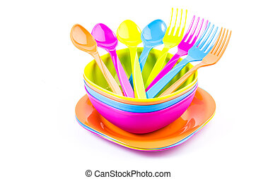 Color tableware - Color plastic tableware dishes , spoon ,...