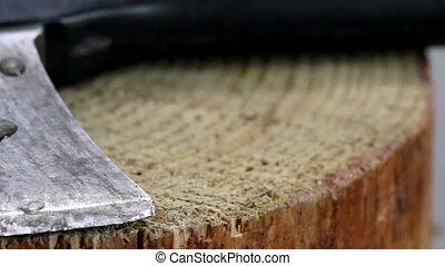 The head of an axe lying on the wood - The head of an axe...