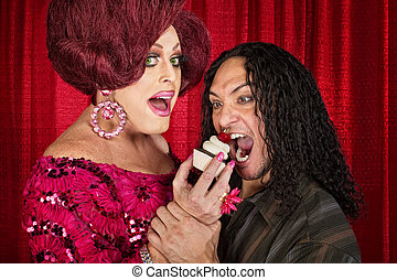 Hungry Man and Drag Queen - Tall drag queen and hungry man...