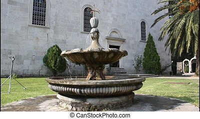 Monastery Savina, Montenegro, fountain, tilt up