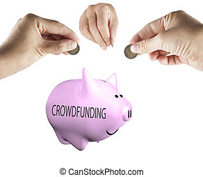 Crowdfunding - Male hands bringing money to a piggy bank...