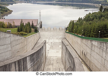 Hydropower station on Czorsztynski lake - Czorsztyn, Poland....