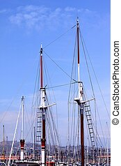 Rigging - rigging of a sail boat with the blue sky in the...