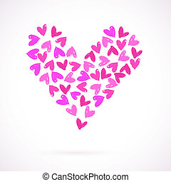 Vector card with many watercolour painted hearts - Template...