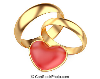 Gold wedding rings and red heart