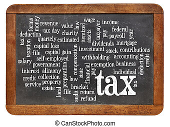 tax word cloud on blackboard - cloud of words or tags...