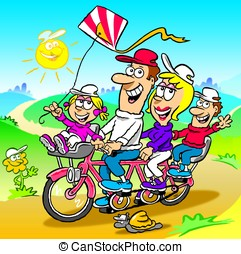 Family tandem - Cartoon of happy family riding a tandem...