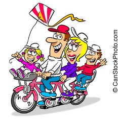 Family tandem. WBG. - Cartoon of happy family riding a...
