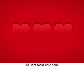 Three Red Hearts in Flat Design Style on Red Background...