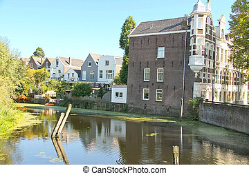 Houses on the river in Dordrecht, Netherlands