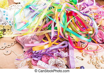 Scrap details - Scrapbooking craft materials for a postcard...