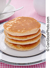Pancakes - Stack of plain buttermilk pancakes no butter or...
