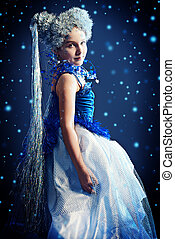snowflake costume - Portrait of a beautiful girl who looks...